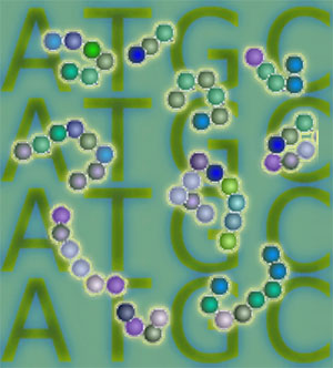 Logo for Nuclear Contents:  DNA and Proteins